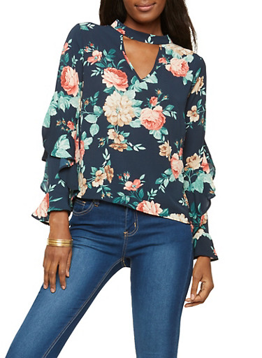 Floral Ruffled Bell Sleeve Top,TEAL,large