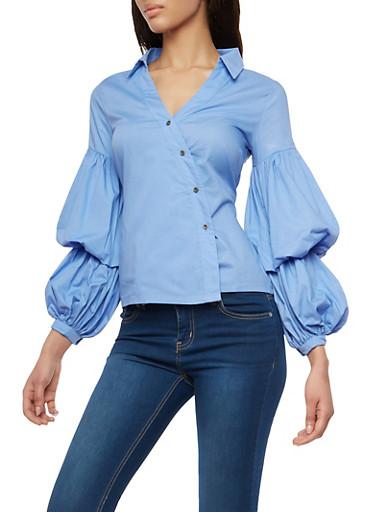 Asymmetrical Button Front Bubble Sleeve Shirt,BLUE,large