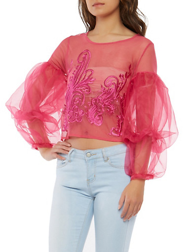 Embroidered Mesh Tiered Bubble Sleeve Top,NEON PINK,large