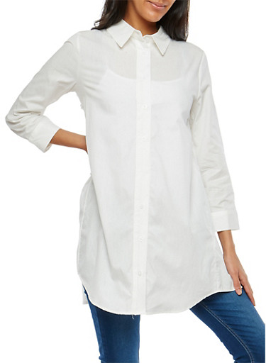 Pleated Back Button Front Tunic,WHITE,large
