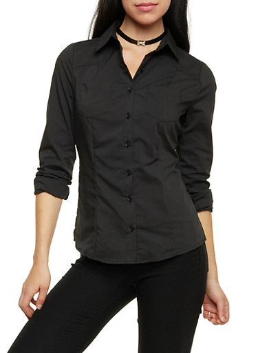 Button Up Shirt with Seams,BLACK,large
