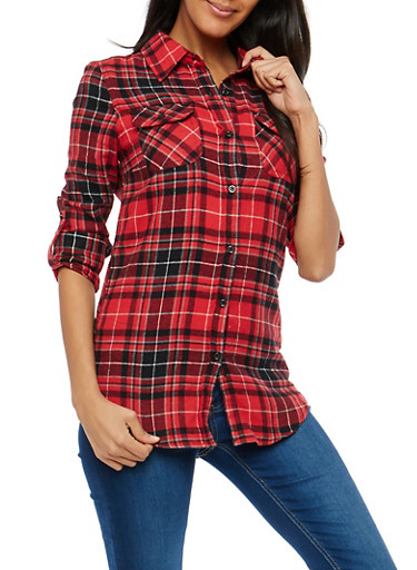 Plaid Flannel Button Front Shirt,RED,large