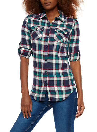 Multi Color Plaid Flannel Shirt,KELLY GREEN,large