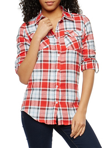 Red Flannel Button Front Shirt,RED,large