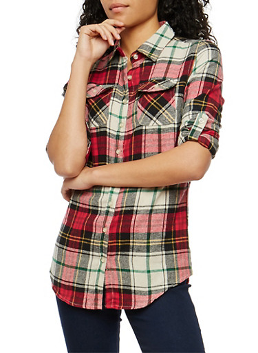 Red Plaid Button Front Shirt,IVORY/RED/NAVY,large