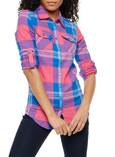 Plaid Flannel Button Front Shirt,BLUE/PINK,large
