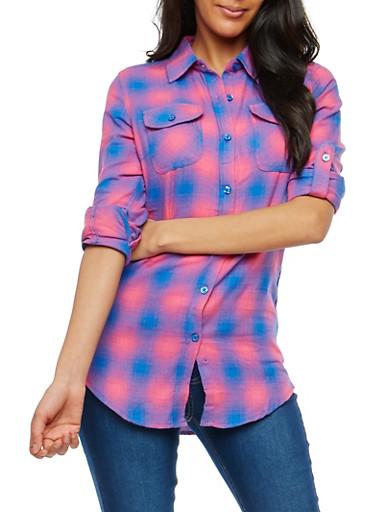 Plaid Flannel Button Front Shirt,RYL BLUE,large