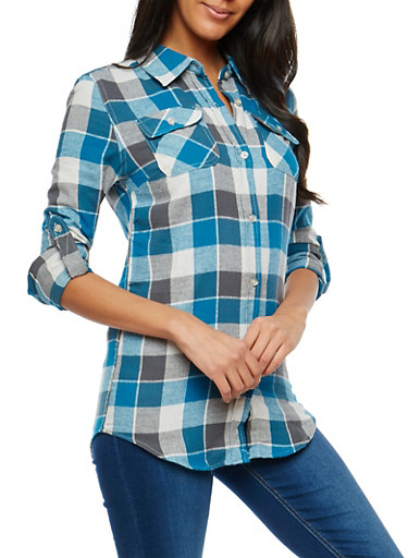 Teal Plaid Button Front Top,TEAL,large