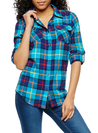 Plaid Flannel Button Front Shirt,TURQ//RED/WHT,large