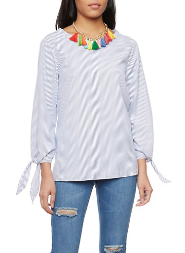 Pinstripe Oversize Top with Tassel Necklace,WHITE/BLUE,large