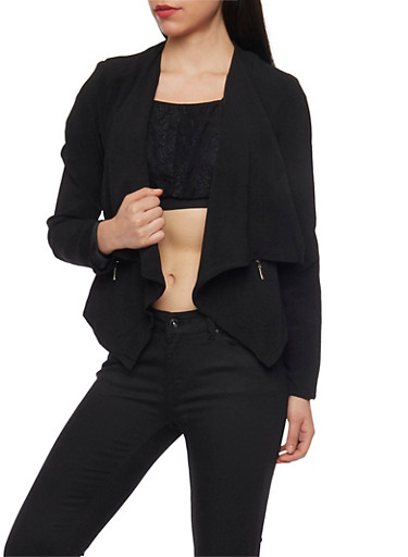 Solid Cropped Opened Front Blazer,BLACK,large