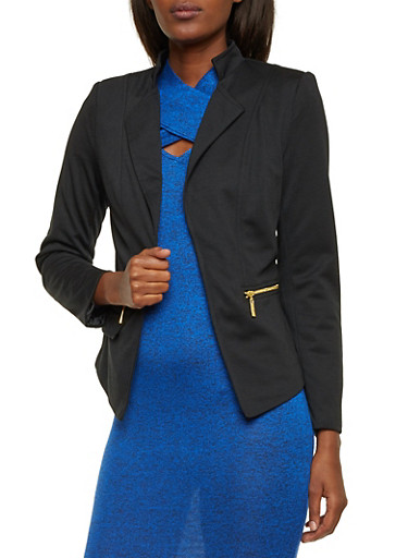 Zip Pocket Blazer with Open Front,BLACK,large