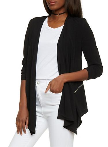 Long Sleeve Open Front Blazer,BLACK,large