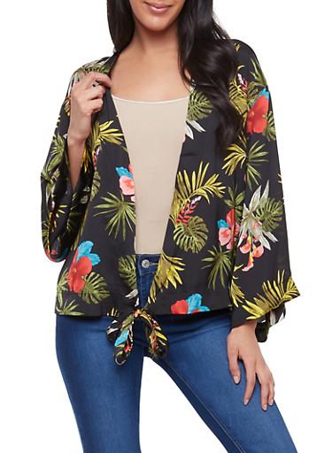 Tropical Print Tie Front Top,BLACK,large