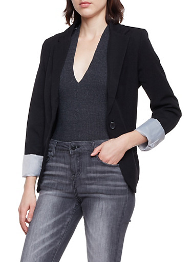 Solid Blazer with Striped Lining,BLACK,large