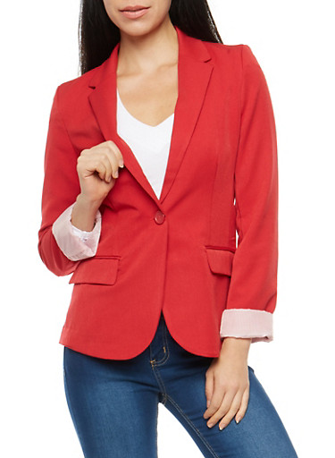 Striped Lining One Button Blazer,RED,large
