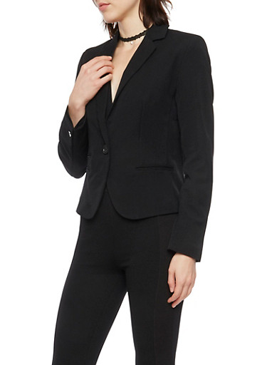 Blazer with Single Button Closure,BLACK,large