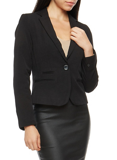 One Button Blazer with Seams,BLACK,large