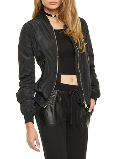 Bomber Jacket with Zip Pockets,BLACK,large