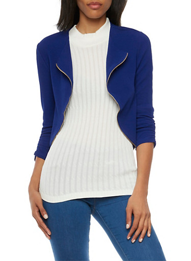 Cropped Knit Jacket with Zipper Trim,RYL BLUE,large