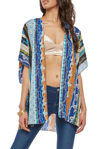 Border Print Kimono,ROYAL,large