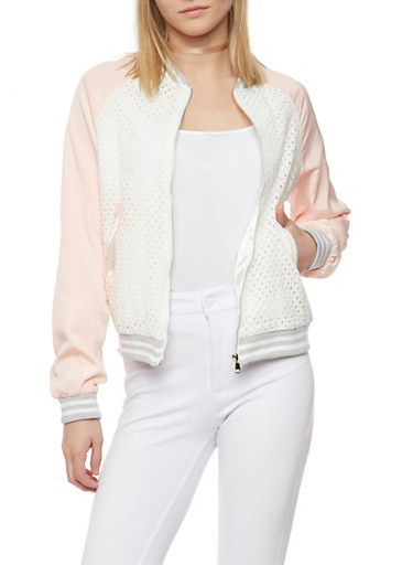 Eyelet Satin Bomber Jacket with Rib Knit Trim,WHITE/BLUSH/GREY,large