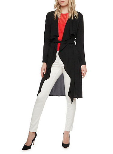 Belted Duster with Long Sleeves,BLACK,large