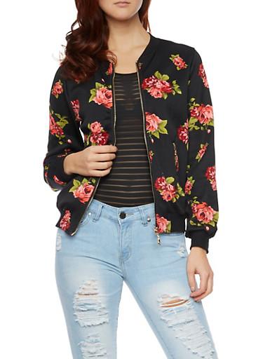 Bomber Jacket in Floral Knit,BLACK/RED,large