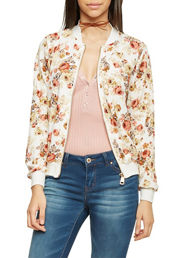 Knit Bomber Jacket with Floral Print,IVY/BLUSH,large