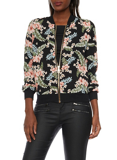 Bomber Jacket in Floral Print Crepe,BLACK,large