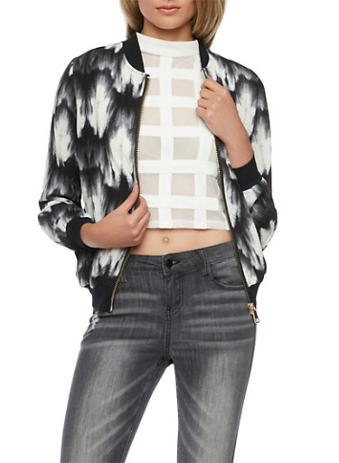 Bomber Jacket in Tie Dye Print,WHT-BLK,large
