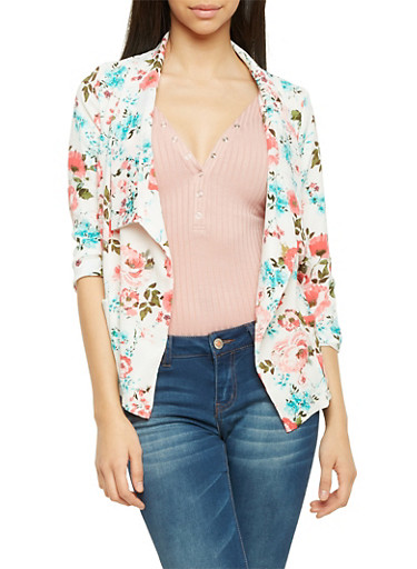 Blazer in Floral Print Crepe Fabric,IVORY,large