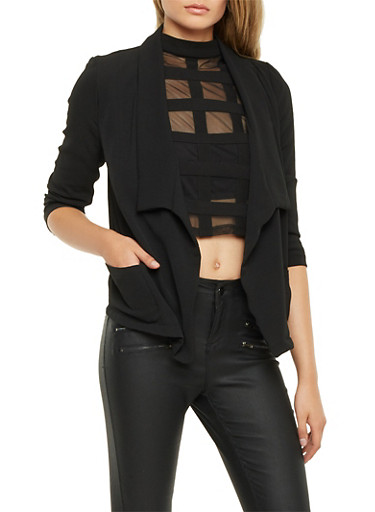 Textural Blazer with Draped Lapel,BLACK,large