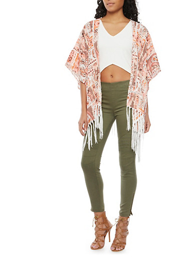 Patchwork Kimono Top with Fringe Trim,PEACH COMBO,large