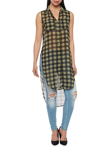 Gingham Tunic Top with High Low Hem,OLIVE/BLK,large