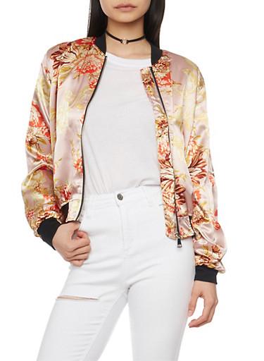 Satin Floral Bomber Jacket with Rib Knit Trim,MAUVE,large