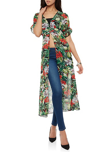 Tropical Floral Cinched Waist Maxi Top,BLACK,large