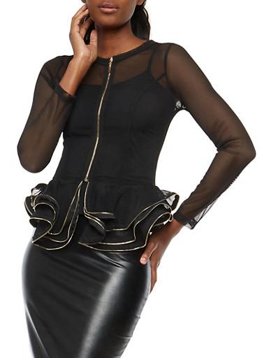 Ruffled Mesh Peplum Jacket,BLACK/GOLD,large