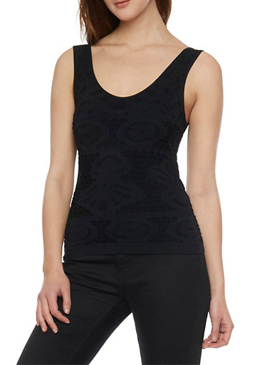 Crochet Knit Tank Top,BLACK,large