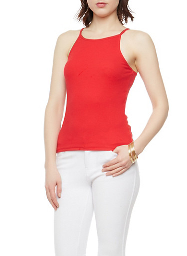Ribbed Knit High Neck Tank Top,B RED,large