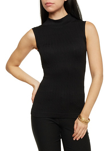 Sleeveless Cable Knit Top,BLACK,large