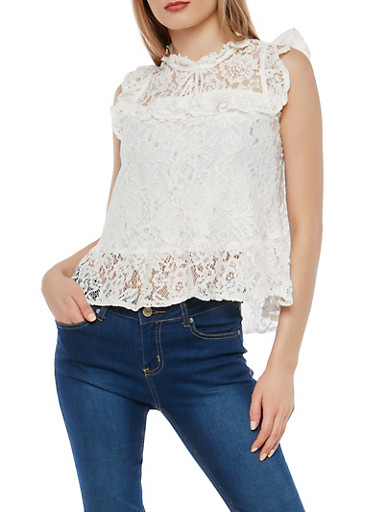 Sleeveless Lace Top with Flounce Hem,WHITE,large