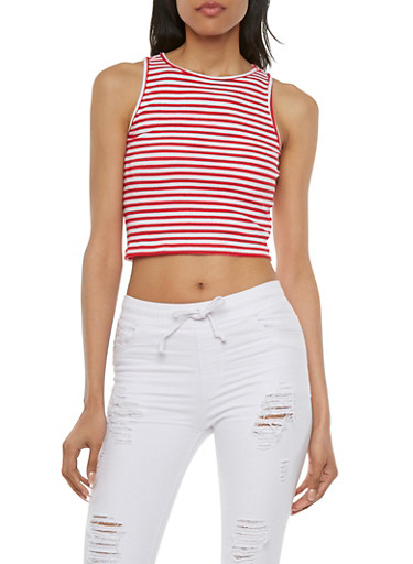 Sleeveless Ribbed Crop Top with Striped Print,B RED/WHITE,large