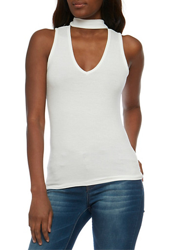 Sleeveless Rib Knit  Choker Top,OFF WHITE,large