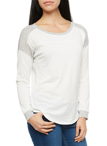 Basic Marled Color Block Long Sleeve Top,WHITE/HEATHER,large