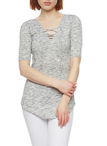 Marled Short Sleeve Lace Up Tunic Top,GRAY,large