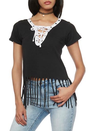 Short Sleeve Lace Up V Neck T Shirt with Fringe Hem,BLACK,large