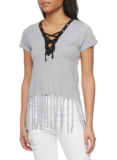 Short Sleeve Lace Up V Neck T Shirt with Fringe Hem,HEATHER,large