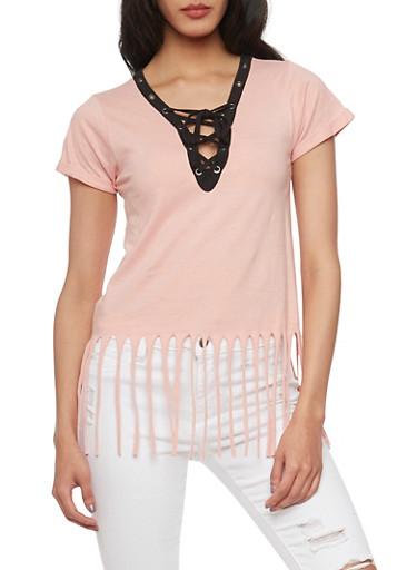Short Sleeve Lace Up V Neck T Shirt with Fringe Hem,MAUVE,large