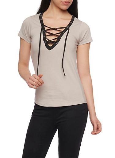 Lace Up V Neck T Shirt with Slashed Back,MOCHA/BLK,large